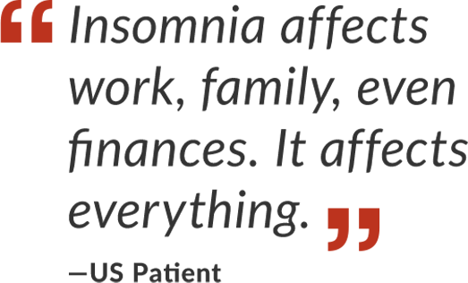 "Quote saying ""Insomnia affects work, family, even finances. It affects everything."""